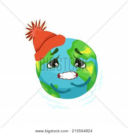 Earth planet character in red hat trembling, cute globe with face and hands vector Illustration on a white background