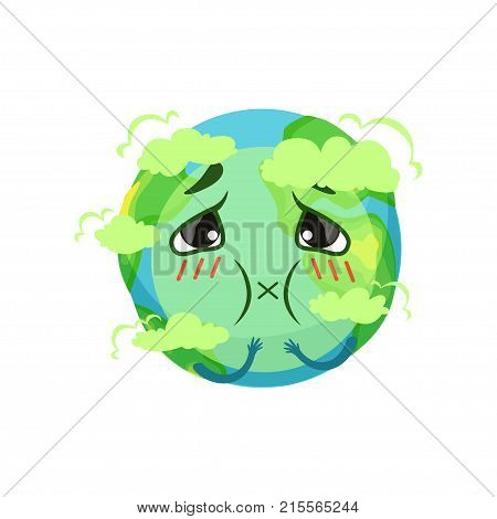 Earth planet character suffocating from carbon dioxide, atmospheric pollution vector Illustration on a white background