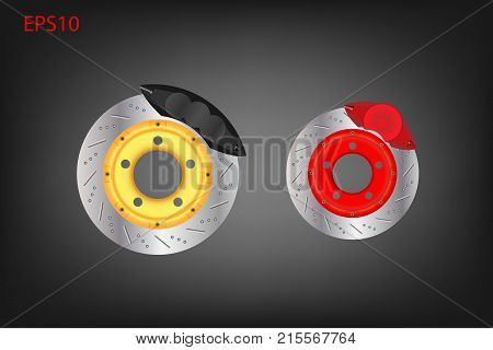 Car disc brake system with caliper. Automotive parts concept. Vector illustration design. EPS10