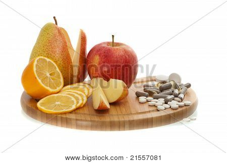 Fruit And Vitamins In Pills