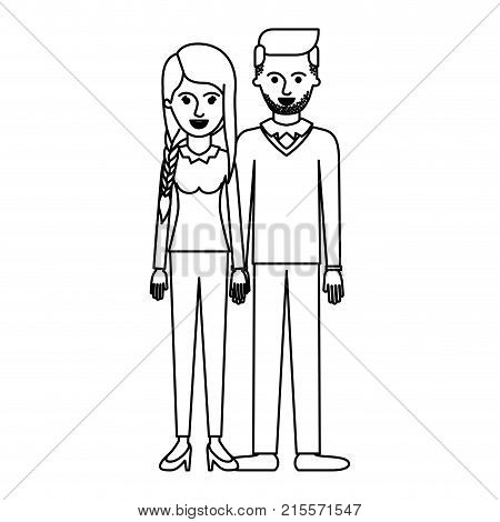 couple monochrome silhouette and her with blouse long sleeve and pants and heel shoes with braid and fringe hairstyle and him stubble beard and sweater and pants and shoes with side parted hairstyle vector illustration