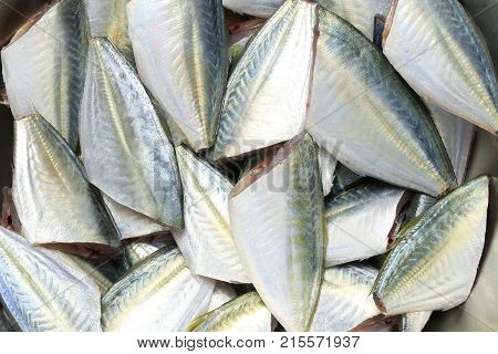 Raw Bigeye trevally or Dusky jack fish of ingredients for cookingfoods animal background.