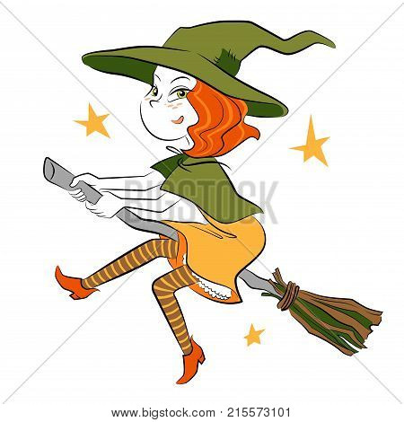 Little witch flying on the broom - picture for Helloween party