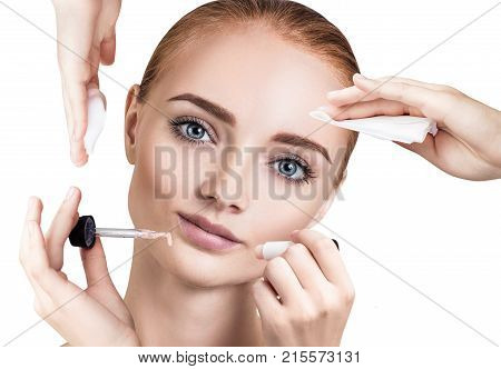 Young redhead Woman surrounded by cosmetics procedures. poster