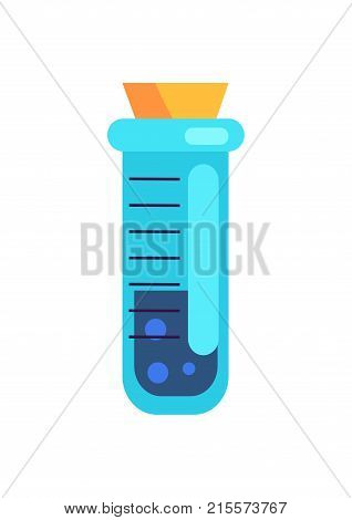 Closeup of short cylinder test tube containing blue liquid isolated vector illustration on white. Laboratory glassware with cork stopper