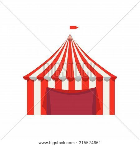 Striped tent for selling fastfood products with flag on top vector illustration isolated on white background. Shop for selling street food
