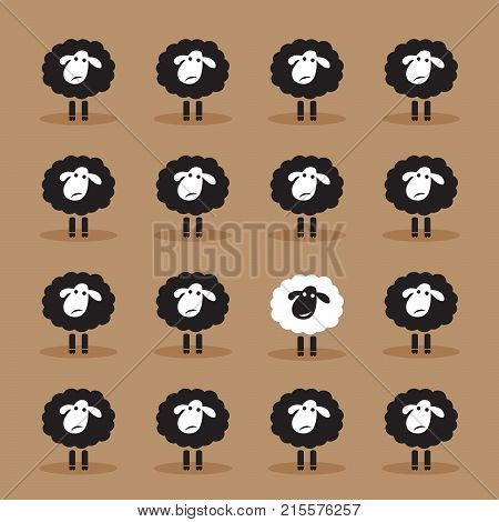 Vector of single white sheep in black sheep group on brown background. Animal. Dissimilar concept.