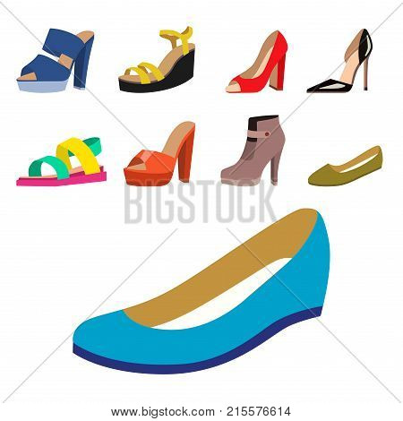 Set of womens shoes flat design vector collection of leather colored moccasins sandals illustration. Wear for all seasons. For shoe store ad fashion concepts.