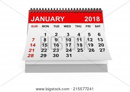 2018 year calendar. January calendar on a white background. 3d rendering
