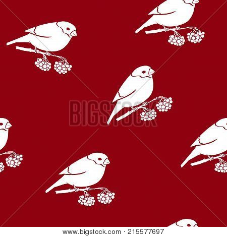 Seamless Pattern with a Bullfinch. Bullfinch Sitting on a Branch with Bunches of Rowan on a Red Background Christmas Decorations Illustration