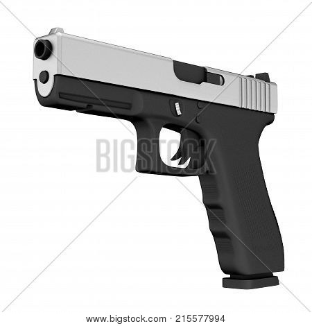 Powerful Metalic Police or Military Pistol Gun on a white background. 3d Rendering