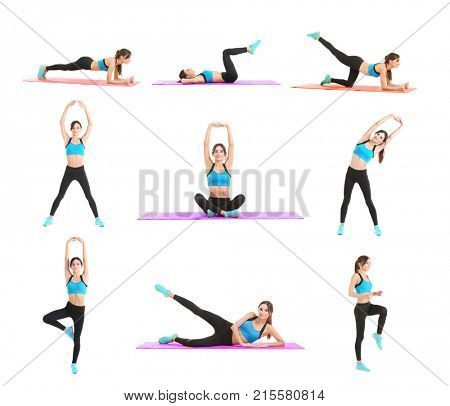 Collage with beautiful young woman doing different exercises on white background