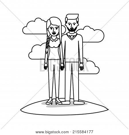 couple monochrome scene outdoor and her with blouse long sleeve and pants and heel shoes with braid and fringe hairstyle and him stubble beard and sweater and pants and shoes with side parted hairstyle vector illustration