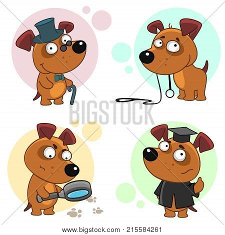 Seventh part of a collection of icons with dogs for design. A dog in a hat and with a cane, a dog with a leash that wants to walk, a dog detective with a magnifying glass and a dog student.
