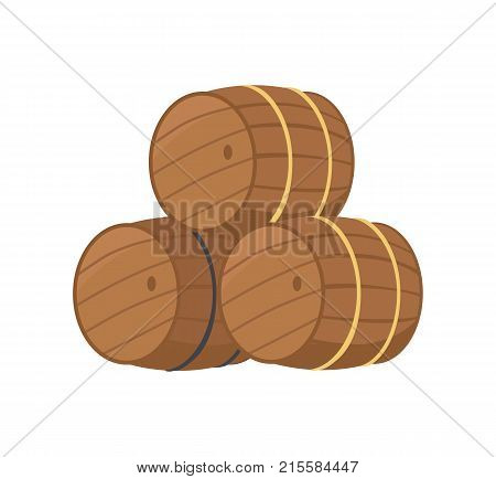 Wooden barrels with beer vector illustration isolated on white. Three casks or tuns hollow cylindrical container, made of wooden staves bound by metal hoops
