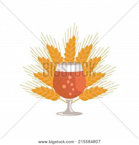 Snifter glass of beer in transparent glassware on background of ears of wheat vector. Dark alcohol beverage, symbol of Oktoberfest fest in cartoon style