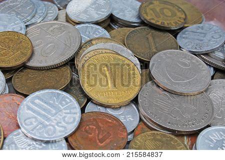 Old invalid coins from europe. History coins texture pattern Money coins background. Filler Schilling Groschen Pfennig Mark Forint coin.