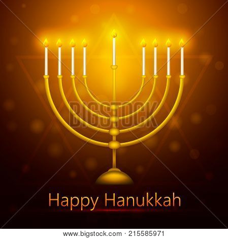 Vector Hanukkah background with menorah. Happy Hanukkah greeting card. Vector illustration.