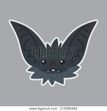 Bat sticker. Emoji. Vector illustration of cute Halloween bat vampire shows sad emotion. Isolated emoticon icon with sublayer. Sadness. Bat-eared grey creature's snout. Print design. Badge. Unhappy.