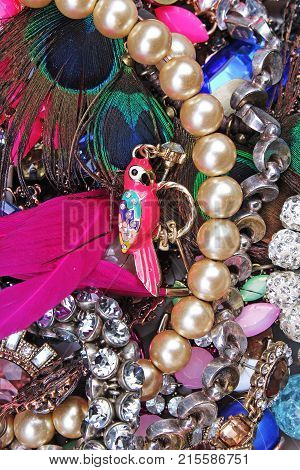 Fashion jewelrys. Fashion jewels as background. Jewelery texture. A lot of Jewells in texture. Jewellery background. Beautiful jewels pattern. Necklace earrings bracelet. Studio photo texture photography. Parrot bijou.