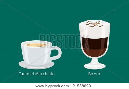 Porcelain cup on saucer with caramel macchiato flat vector. Sweet invigorating drink with caffeine. Tasty bicerin  with chocolate and nasty additives illustration for coffee house and cafe menu design