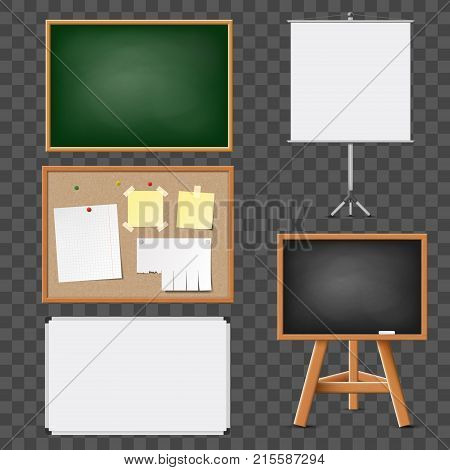 Set of blank blackboard flipchart corkboard for education and presentations. Isolated on transparent background. Stock vector illustration.