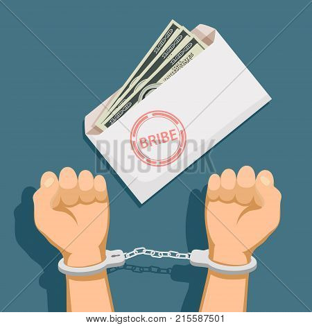 Bribery and corruption. Envelope with dollar banknotes. Man in handcuffs. Stock vector illustration.