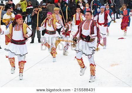 Razlog, Bulgaria - January 14, 2017: People dancing in balkan traditional folk festival