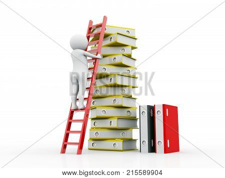 Business man with Folders and ladder. Conception of career advancement. 3d render