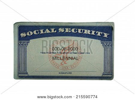 Millennial social security card isolated on white
