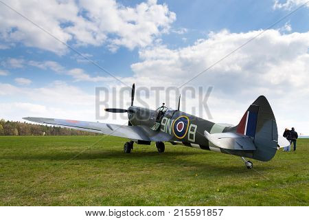 Plasy, Czech Republic - April 30: Pilot Sits In Cockpit Of Supermarine Spitfire Fighter Aircraft Use