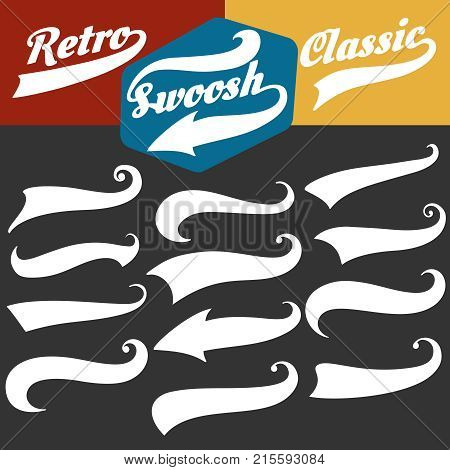 Swoosh tails. Retro sports swash decorative elements for baseball or strike banners and tshirts vector set