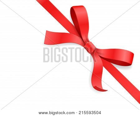 Red color satin bow knot and ribbon isolated on white background. Happy birthday, Christmas, New Year, Wedding, Valentine Day gift card or box package concept. Closeup Vector illustration 3d top view