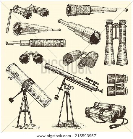 Binocular set monocular vintage, engraved hand drawn in sketch or wood cut style, old looking retro scinetific instrument for exploring and discovering