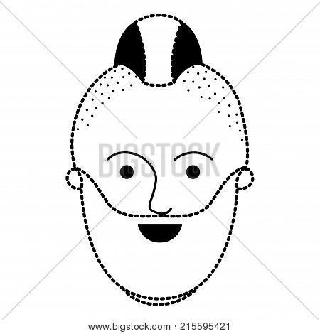 male face with taper fade haircut and beard in black dotted silhouette vector illustration