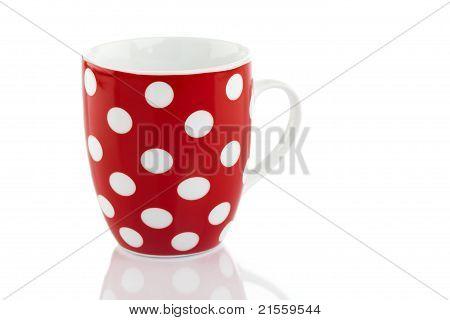 Red Polka Dot Mug Isolated on White