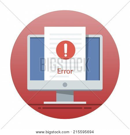 Error icon on the monitor screen. Flat vector illustration for mobile application or web site interface