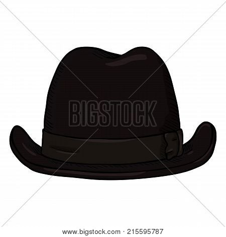 Vector Single Cartoon Classic Homburg Hat. Front View.