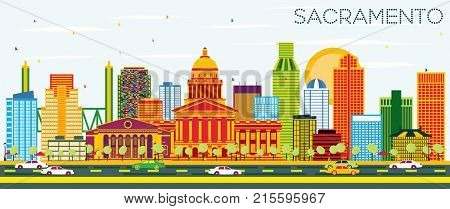 Sacramento USA Skyline with Color Buildings and Blue Sky. Business Travel and Tourism Concept with Modern Architecture. Image for Presentation Banner Placard and Web Site.
