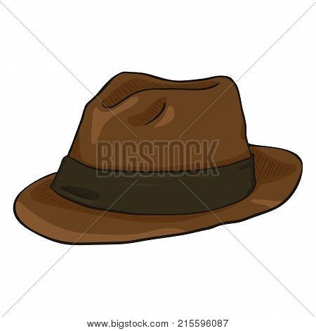 Vector Single Cartoon Brown Fedora Hat With Black Ribbon