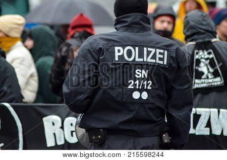 Germany, Leipzig - November 25, 2017: Antifa Demonstration