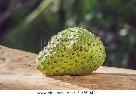 Soursop, Guanabana, Custard Apple, Annona Muricata On Wooden Board