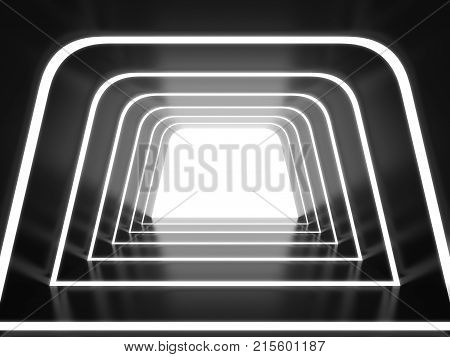 Abstract futuristic tunnel. 3d illustration for design