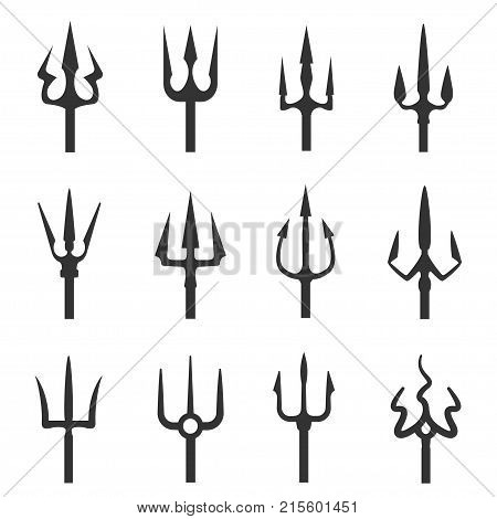 Trident icon set. Three-pronged spear, sharp teeth, long range magical aquatic weapon. Vector flat style cartoon illustration isolated on white background