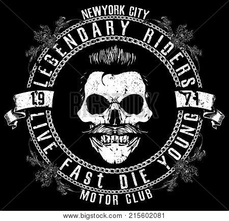 Motorcycle Racing Typography Graphics and Poster. Skull and Old school bike. T-shirt Design; vector illustration