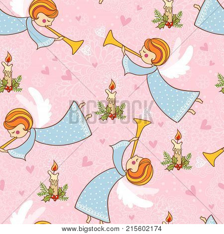 Christmas Seamless Pattern With Angels Playing The Trumpet.