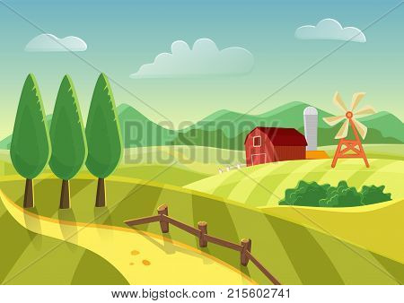 Cartoon vector farm landscape field with farmers building, large field farming striped. Farm flat landscape