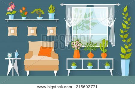 Vector room with houseplants and flowers. Illustration. Interior Design. Greenhouse