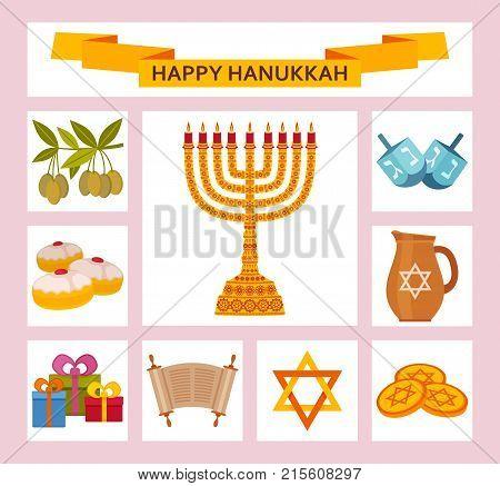 Color Hanukkah icons with Torah, menorah and dreidels. Vector illustration.