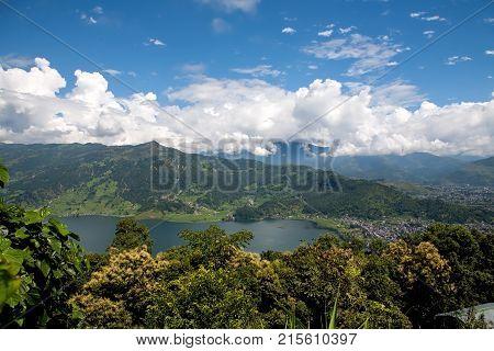 Nepal, Pokhara, Himalayas. Top view of the Phewa lake.